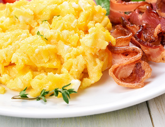 scrambled eggs and bacons